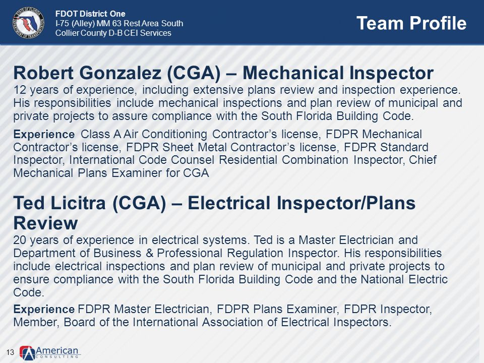 Robert Gonzalez (CGA) – Mechanical Inspector