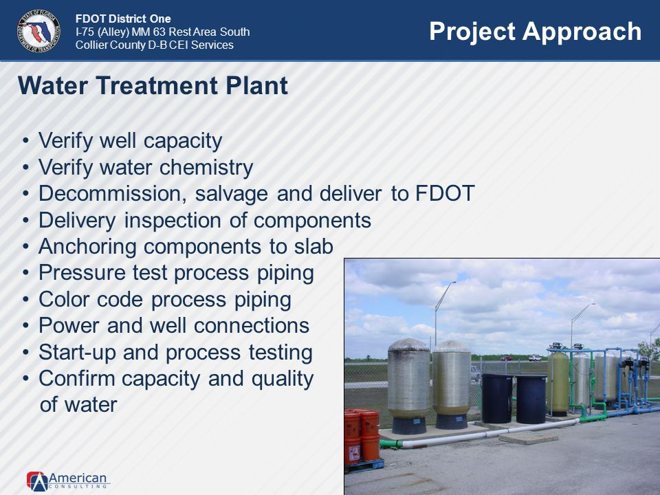 Project Approach Water Treatment Plant Verify well capacity