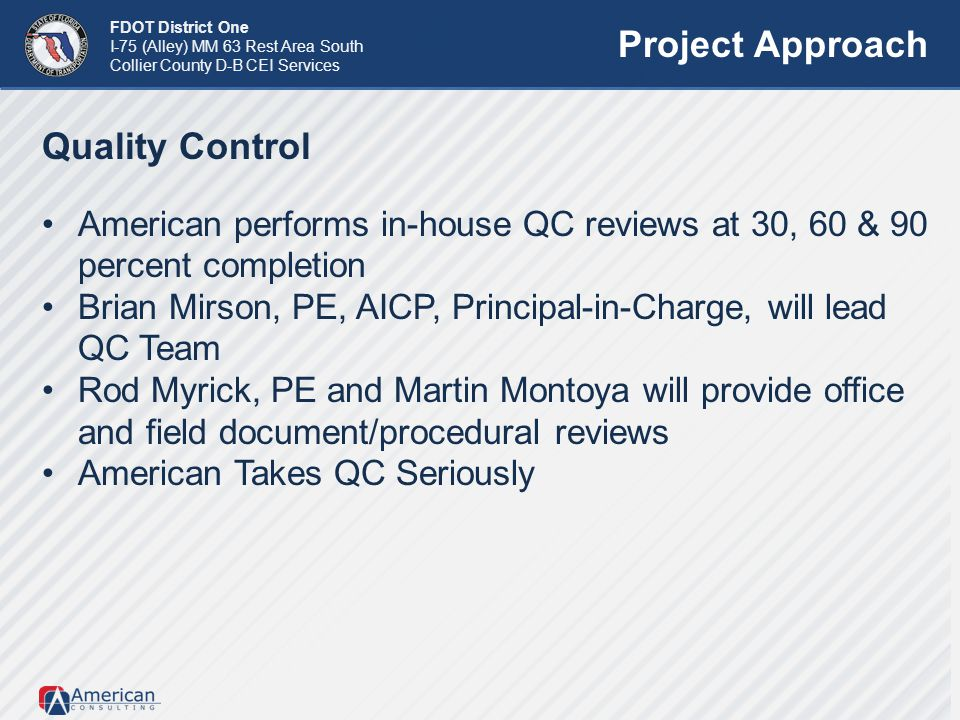 Project Approach Quality Control