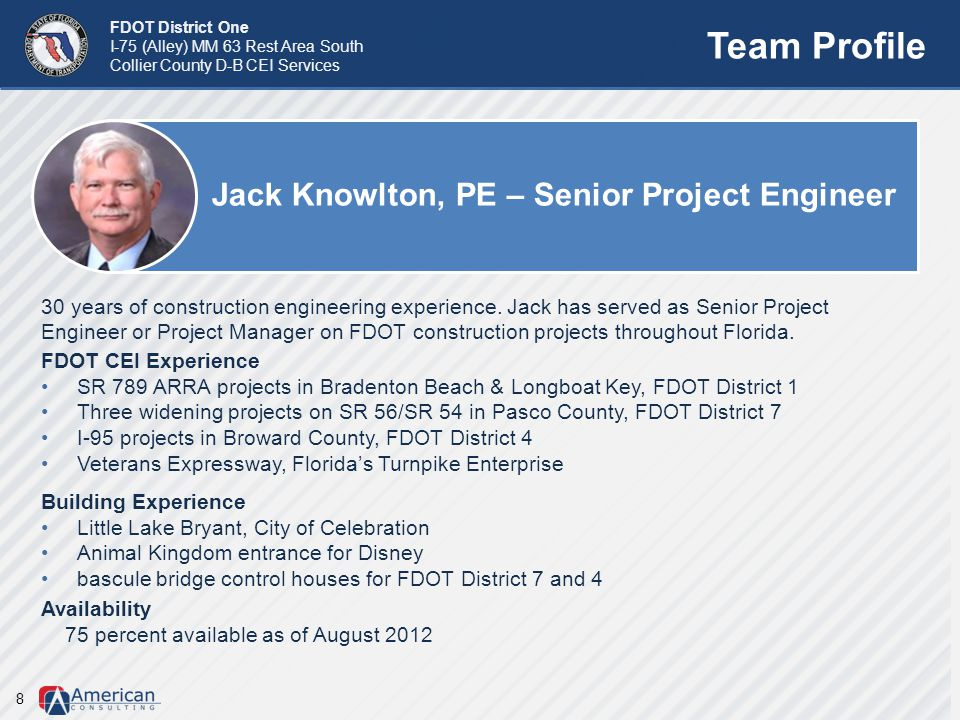 Team Profile Jack Knowlton, PE – Senior Project Engineer