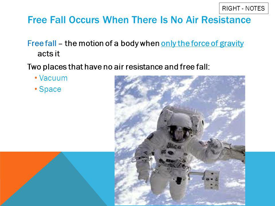 Free Fall Occurs When There Is No Air Resistance