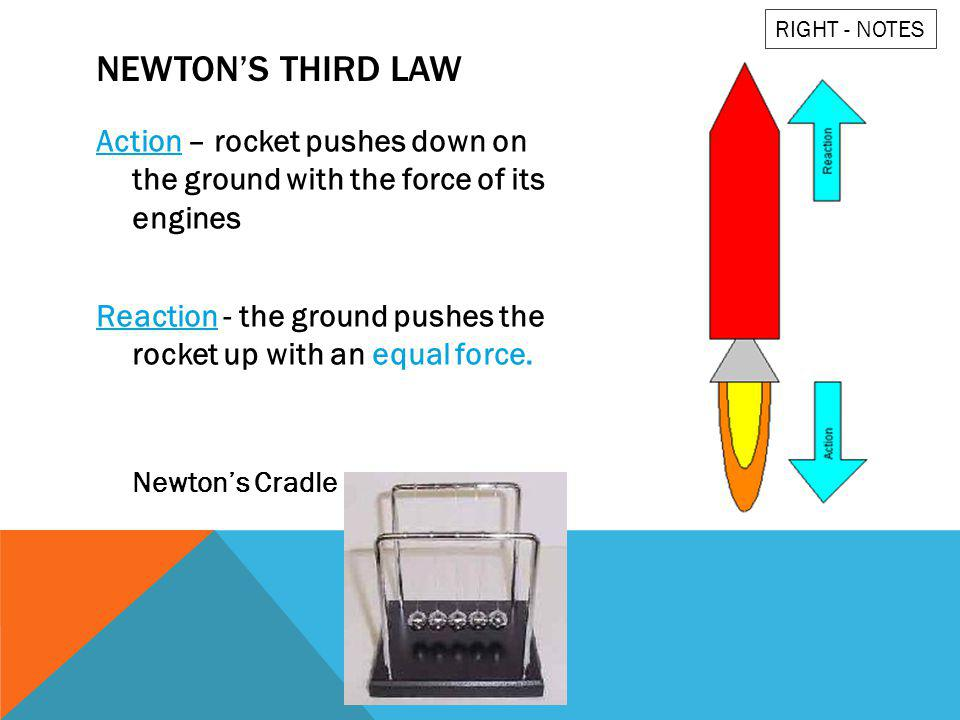 RIGHT - NOTES Newton's third law. Action – rocket pushes down on the ground with the force of its engines.