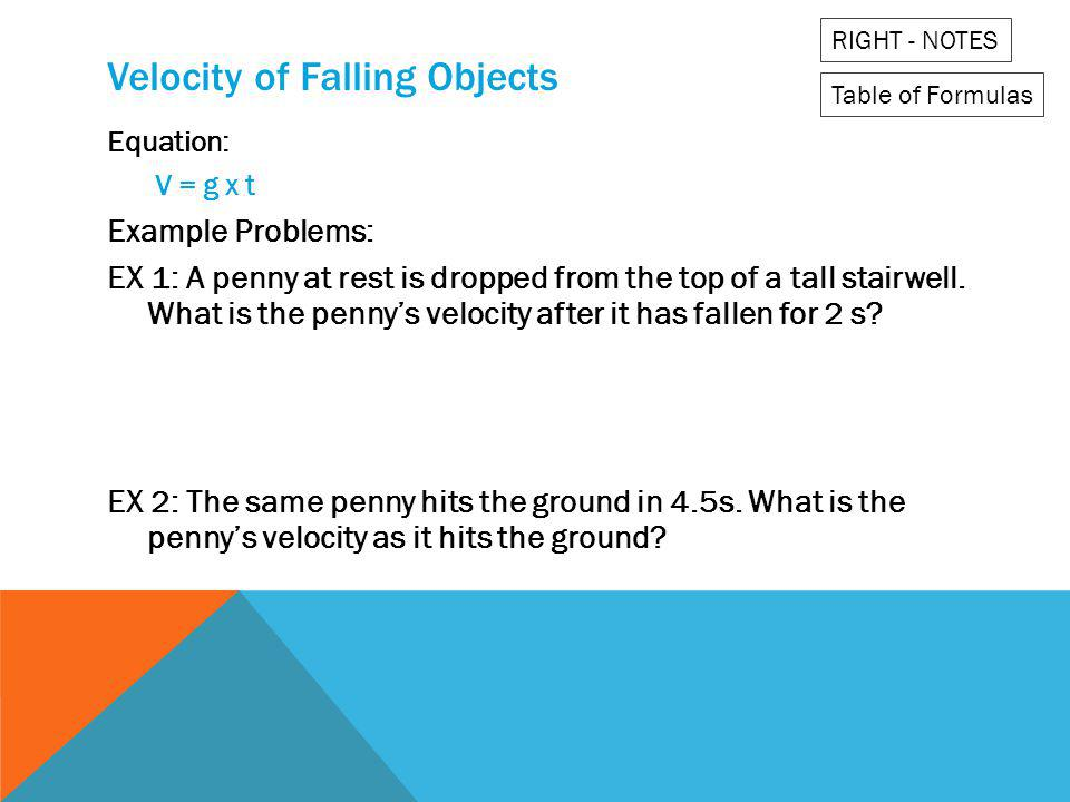 Velocity of Falling Objects