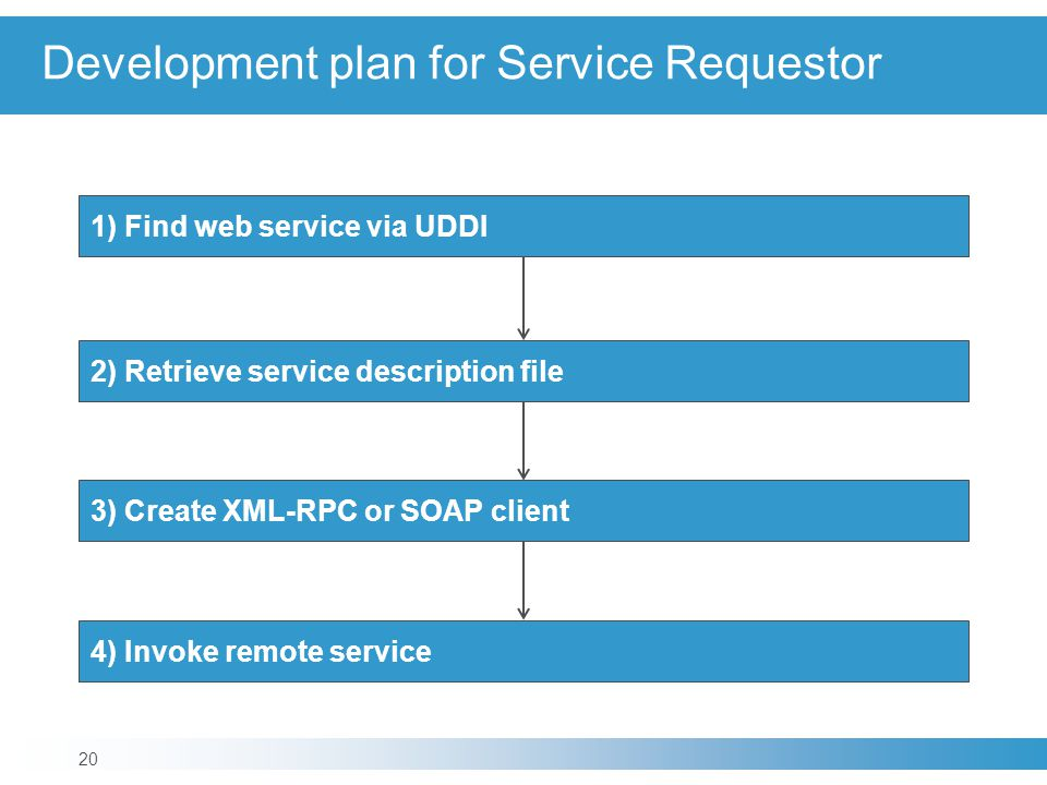 Development plan for Service Requestor