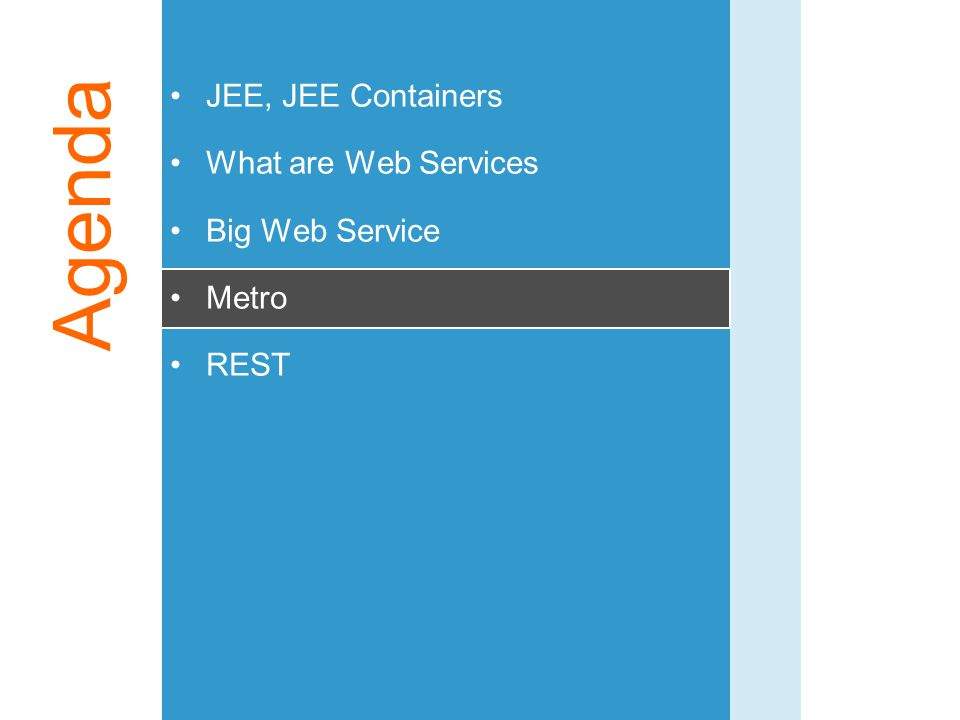 Agenda JEE, JEE Containers What are Web Services Big Web Service Metro
