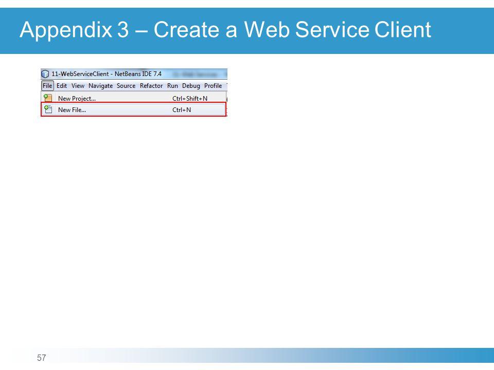 Appendix 3 – Create a Web Service Client