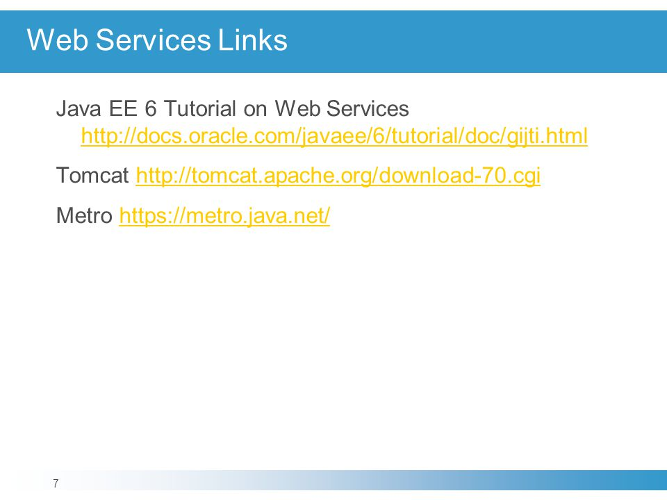 Web Services Links