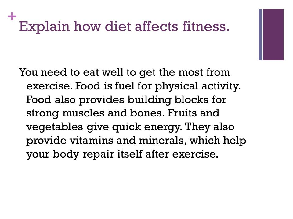 Explain how diet affects fitness.
