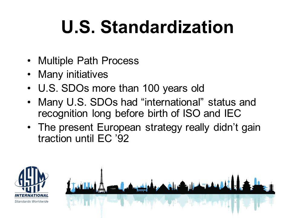 U.S. Standardization Multiple Path Process Many initiatives