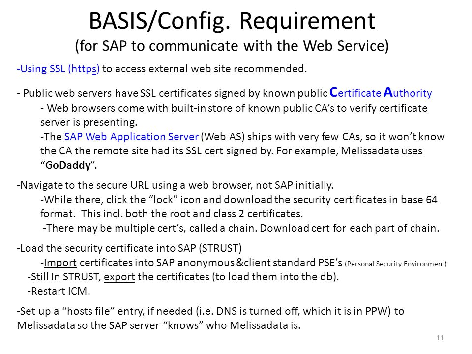 BASIS/Config. Requirement (for SAP to communicate with the Web Service)
