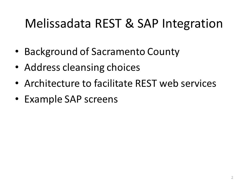 Melissadata REST & SAP Integration