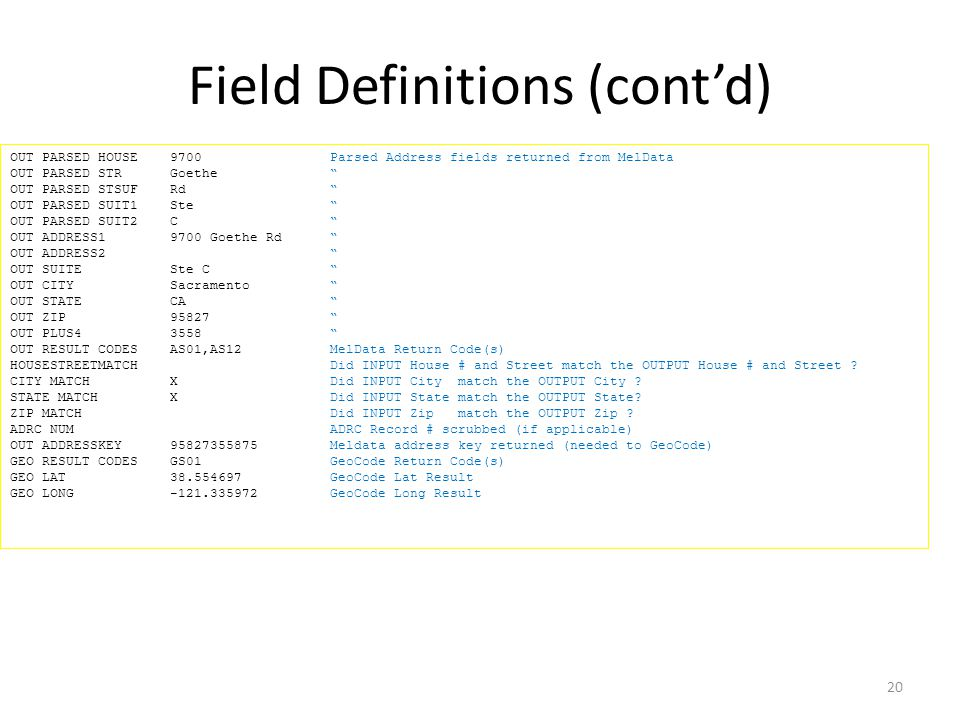 Field Definitions (cont'd)