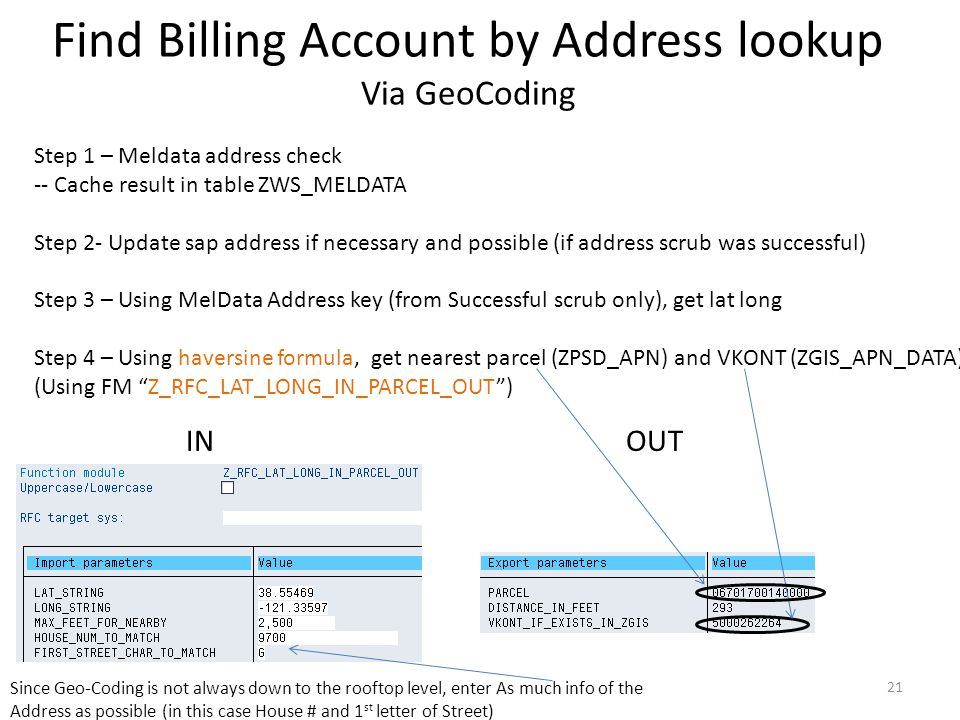 Find Billing Account by Address lookup Via GeoCoding