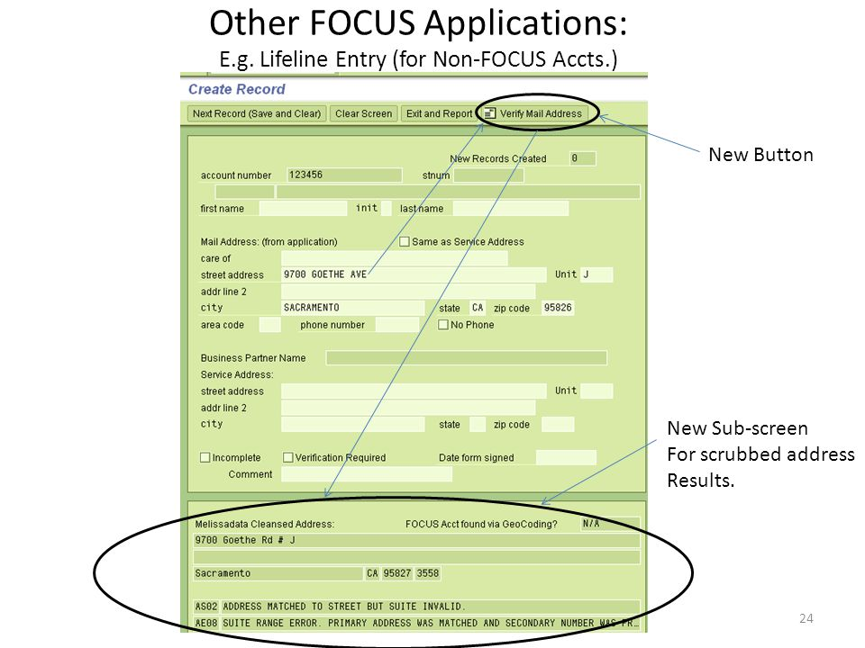 Other FOCUS Applications: E.g. Lifeline Entry (for Non-FOCUS Accts.)