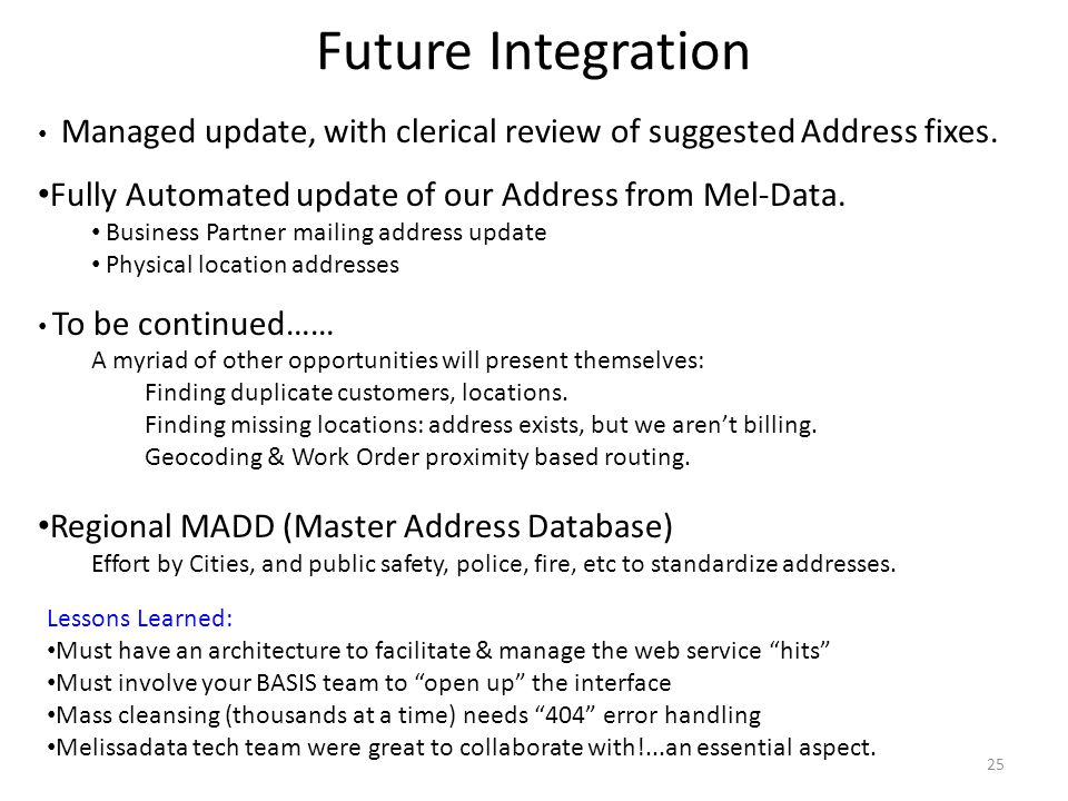 Future Integration Managed update, with clerical review of suggested Address fixes. Fully Automated update of our Address from Mel-Data.