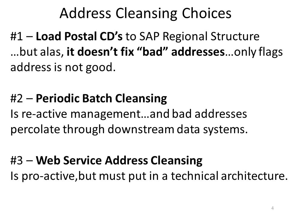 Address Cleansing Choices