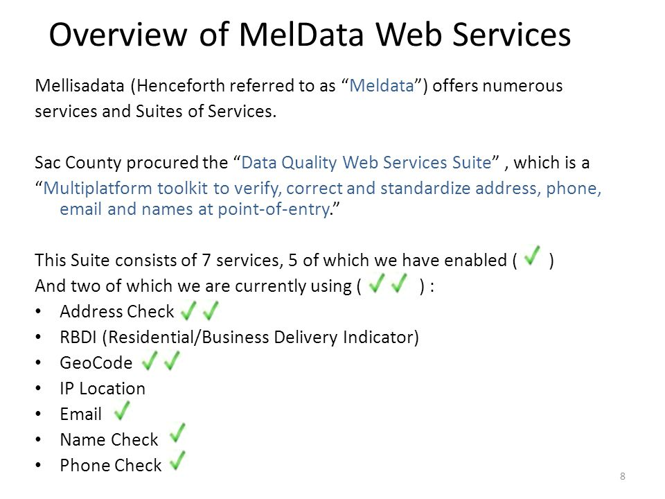 Overview of MelData Web Services