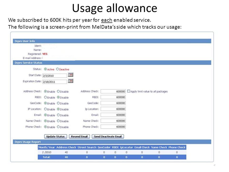 Usage allowance We subscribed to 600K hits per year for each enabled service.
