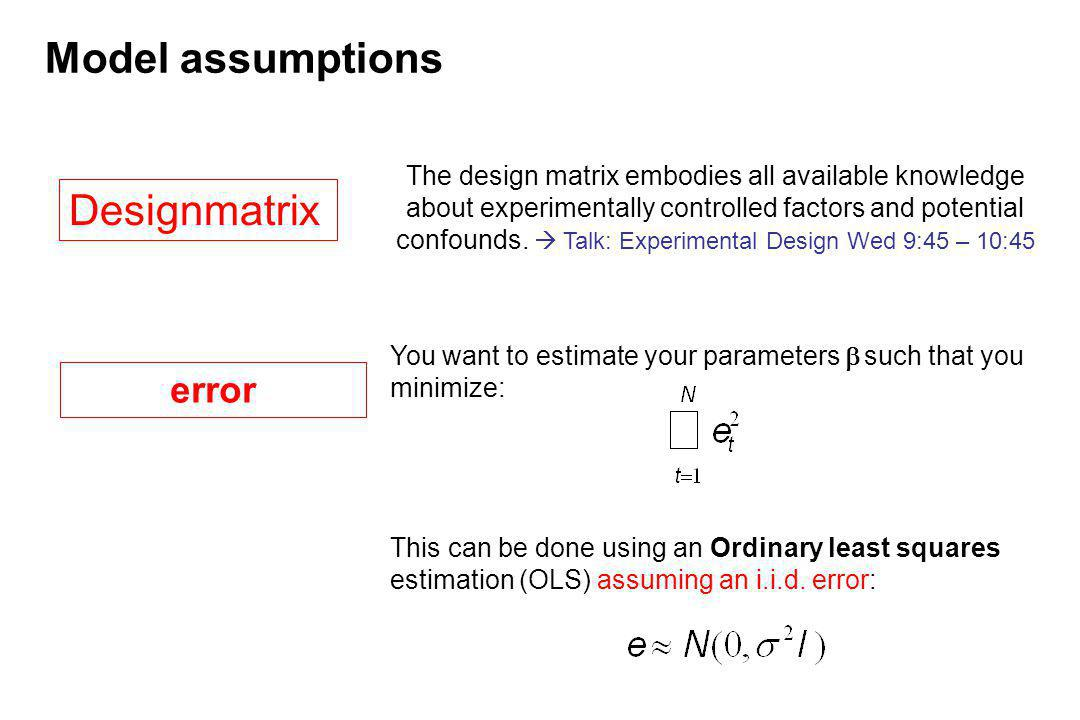Model assumptions Designmatrix error