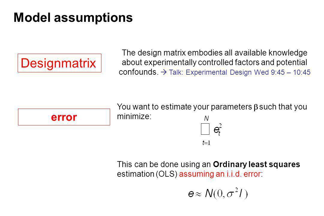 Model assumptions Designmatrix error
