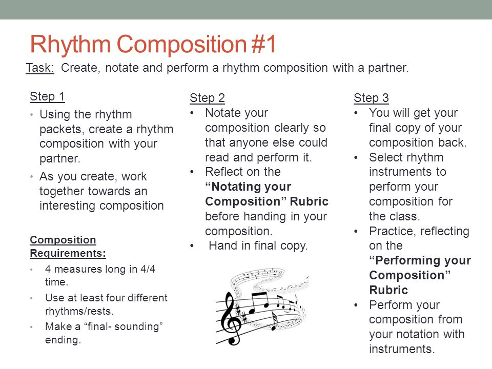 Rhythm Composition #1 Task: Create, notate and perform a rhythm composition with a partner. Step 1.