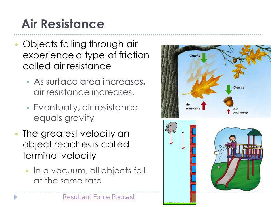 Air Resistance Objects falling through air experience a type of friction called air resistance.
