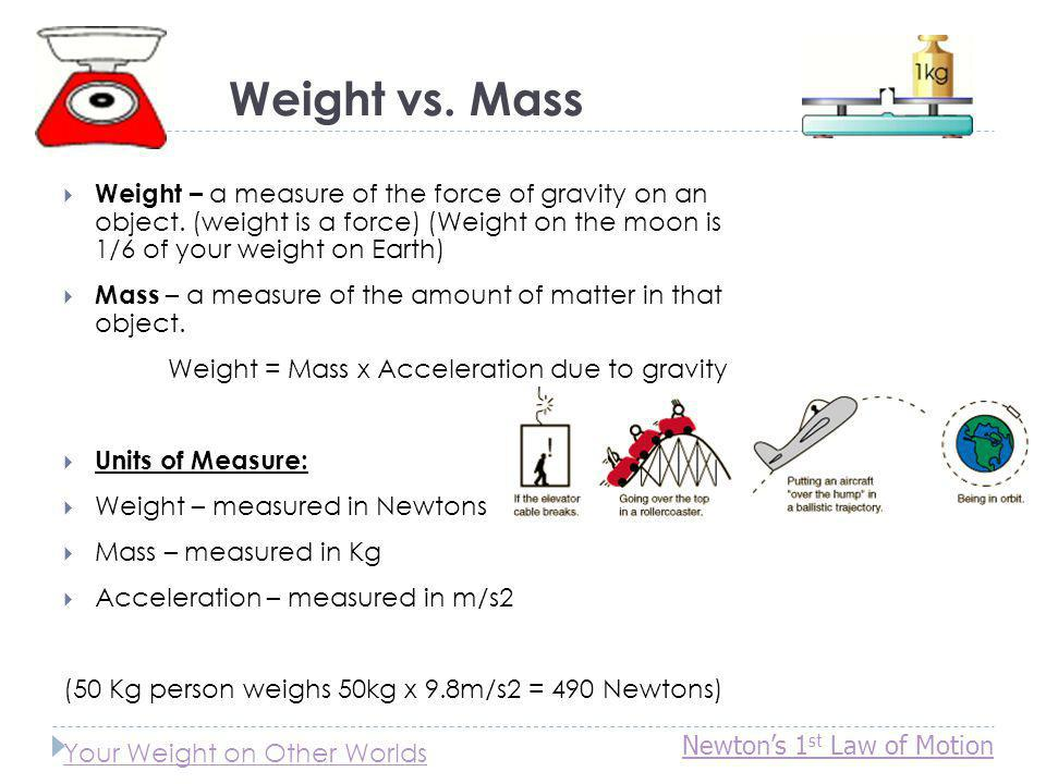 Weight vs. Mass Weight – a measure of the force of gravity on an object. (weight is a force) (Weight on the moon is 1/6 of your weight on Earth)