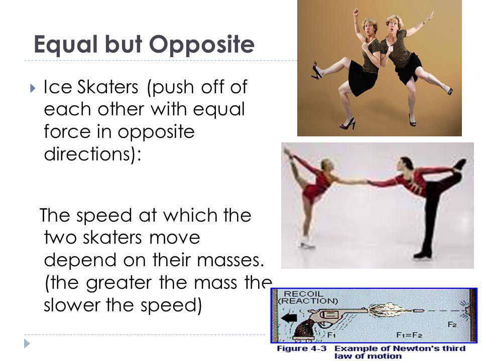Equal but Opposite Ice Skaters (push off of each other with equal force in opposite directions):