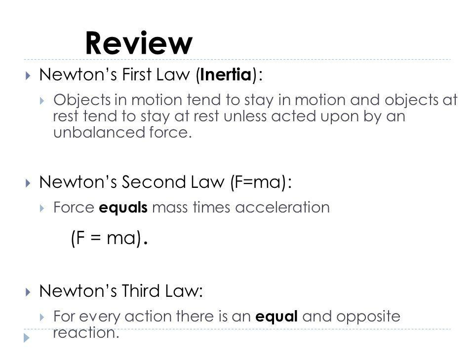 Review (F = ma). Newton's First Law (Inertia):