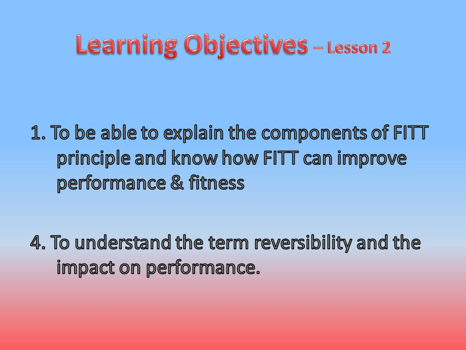 Learning Objectives – Lesson 2