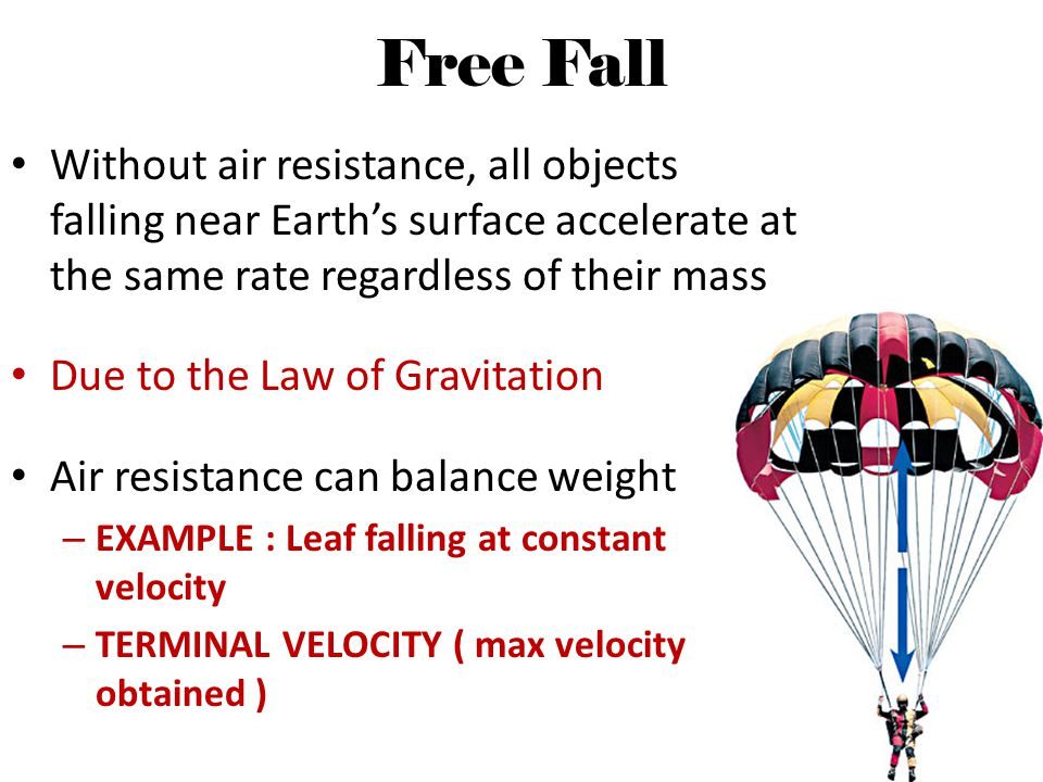 Free Fall Without air resistance, all objects falling near Earth's surface accelerate at the same rate regardless of their mass.