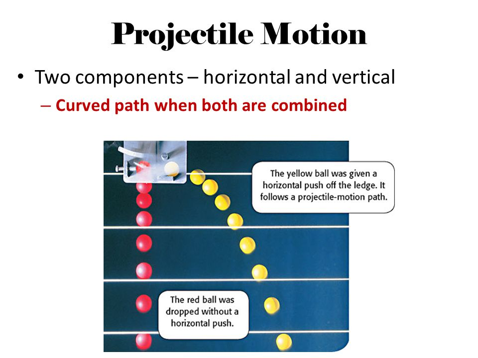 Projectile Motion Two components – horizontal and vertical