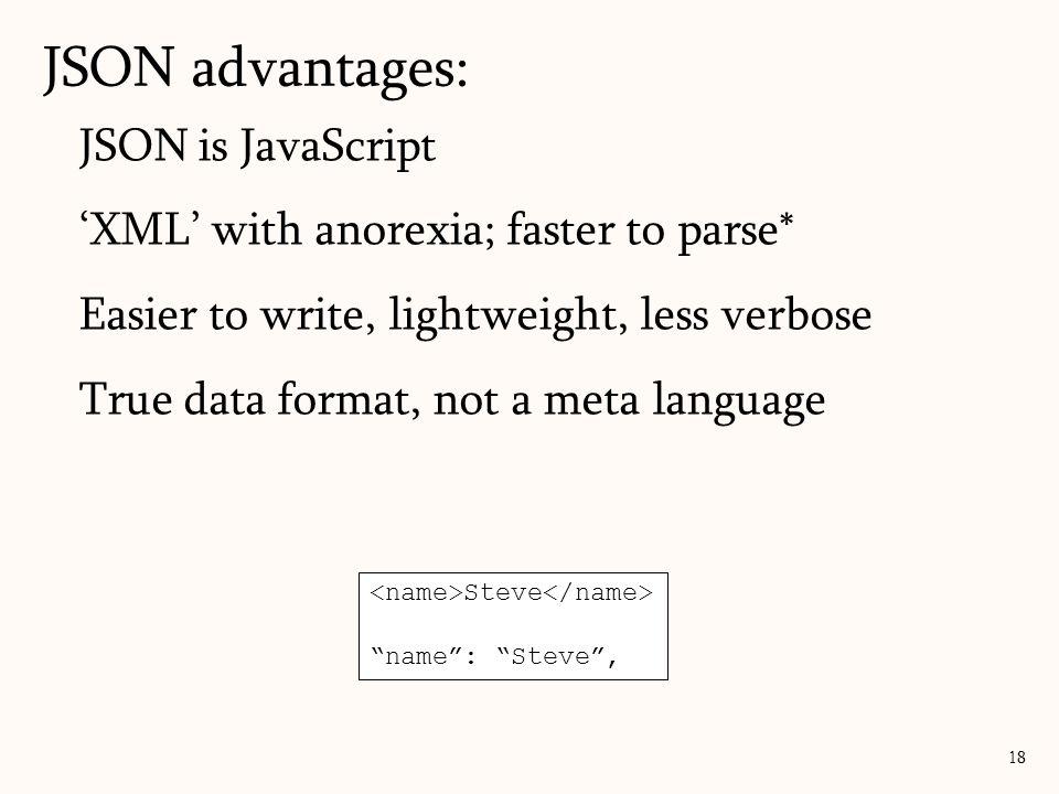 JSON advantages: JSON is JavaScript