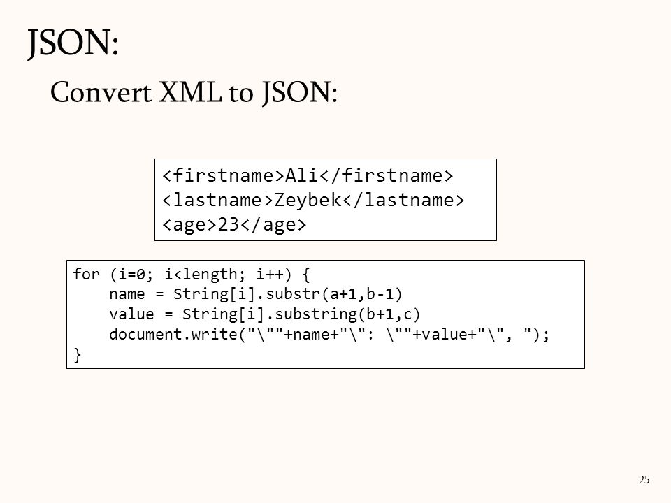 JSON: Convert XML to JSON: <firstname>Ali</firstname>