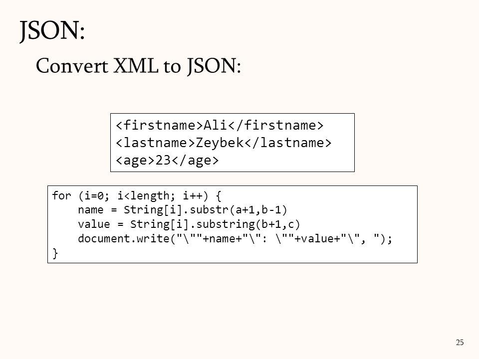 JSON: Convert XML to JSON: <firstname>Ali</firstname>