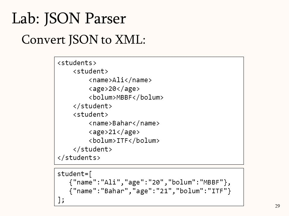 Lab: JSON Parser Convert JSON to XML: <students> <student>