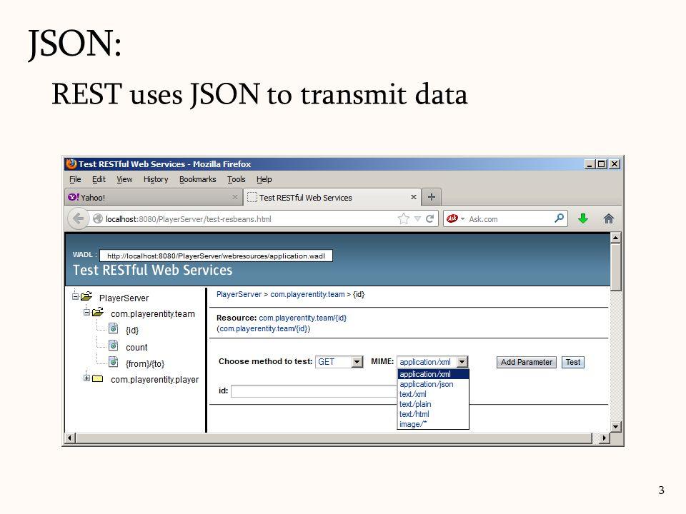 JSON: REST uses JSON to transmit data
