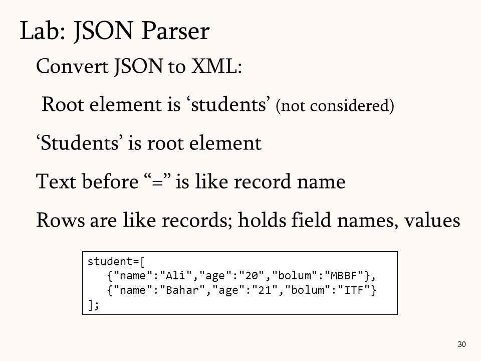 Lab: JSON Parser Convert JSON to XML: