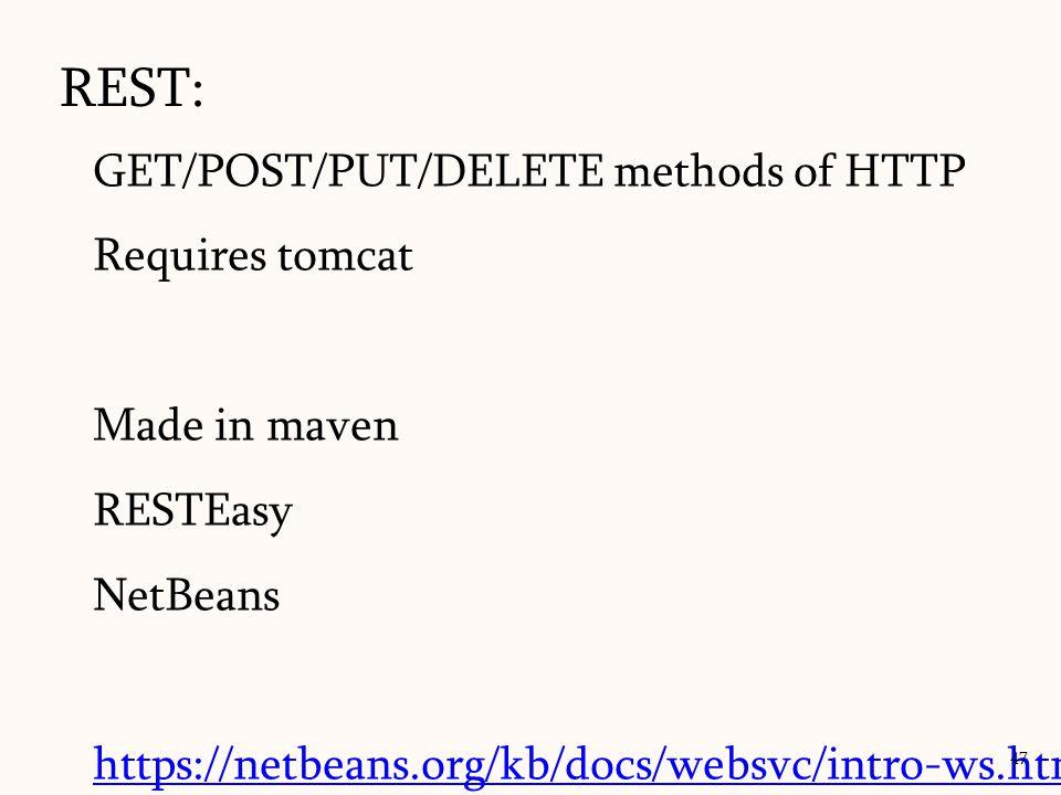 REST: GET/POST/PUT/DELETE methods of HTTP Requires tomcat