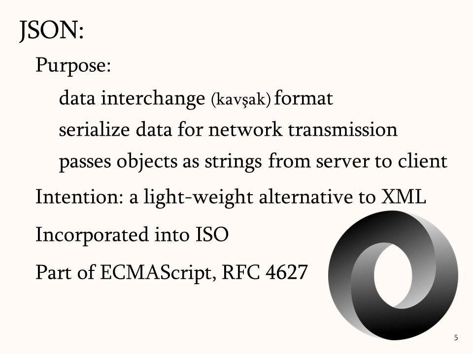 JSON: Purpose: data interchange (kavşak) format