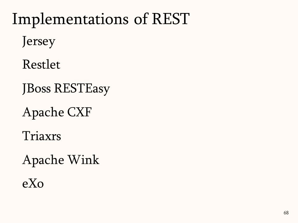 Implementations of REST