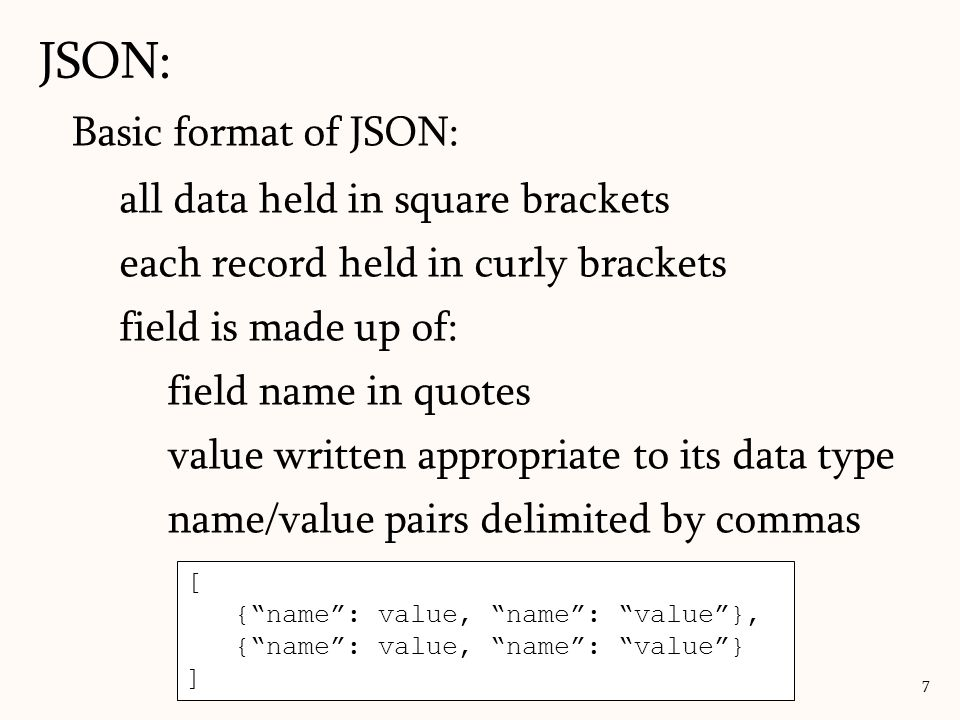 JSON: Basic format of JSON: all data held in square brackets