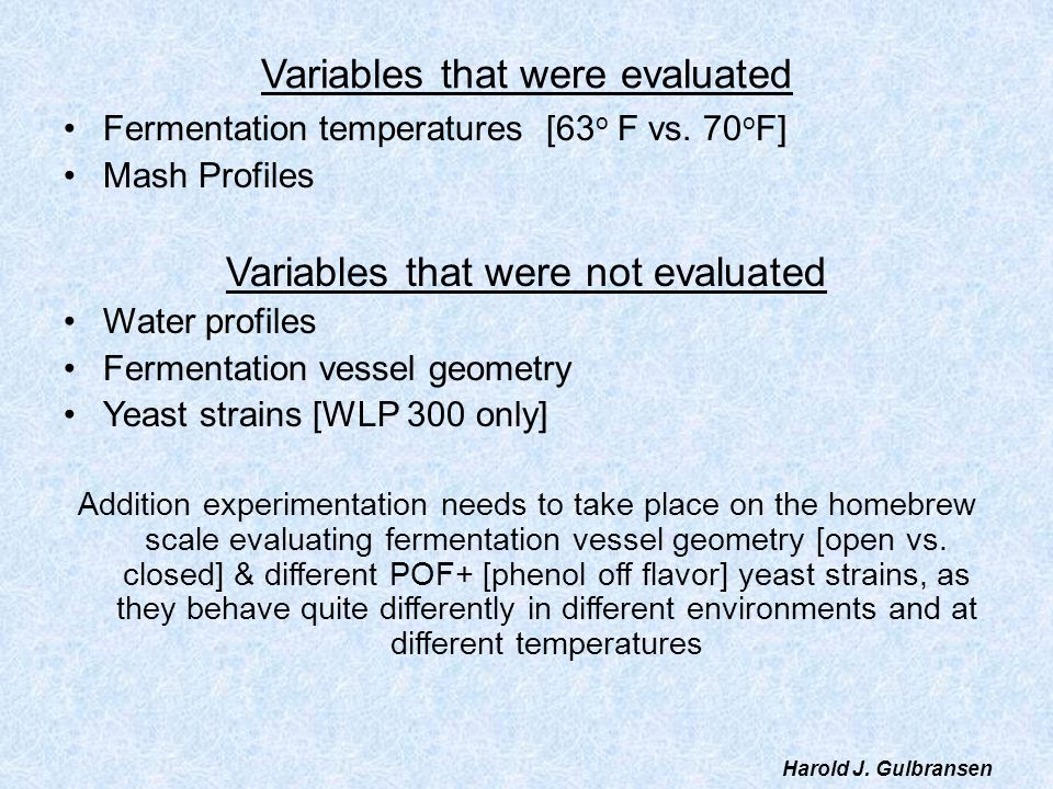 Variables that were evaluated