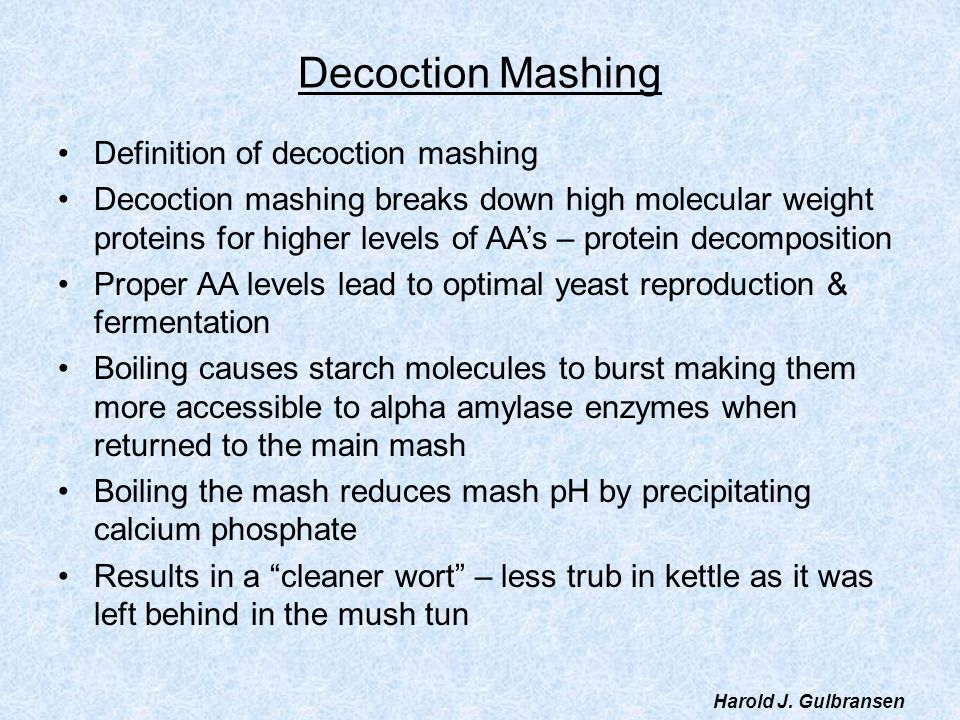 Decoction Mashing Definition of decoction mashing