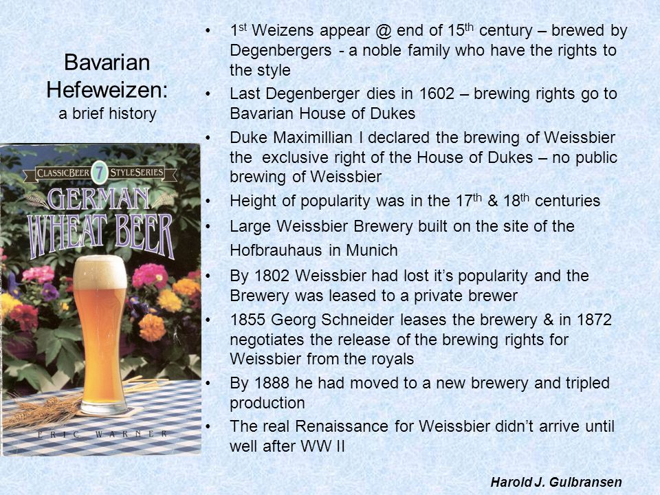 Bavarian Hefeweizen: a brief history