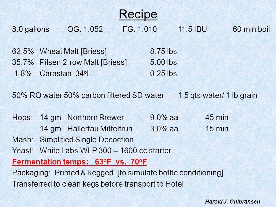 Recipe 8.0 gallons OG: 1.052 FG: 1.010 11.5 IBU 60 min boil
