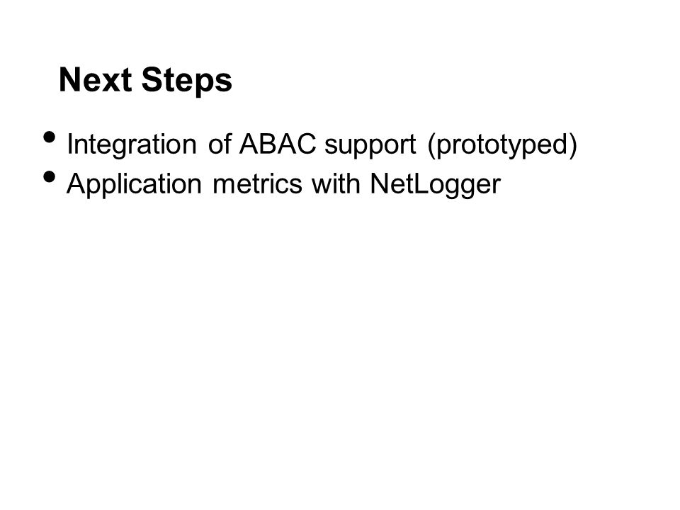 Next Steps Integration of ABAC support (prototyped)