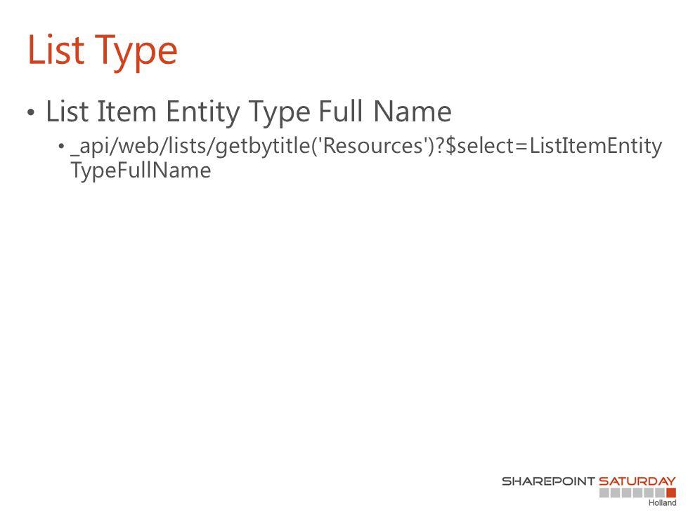 List Type List Item Entity Type Full Name