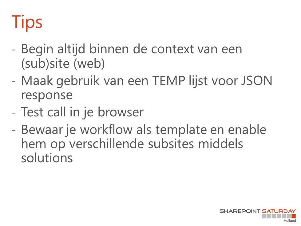 Tips Begin altijd binnen de context van een (sub)site (web)