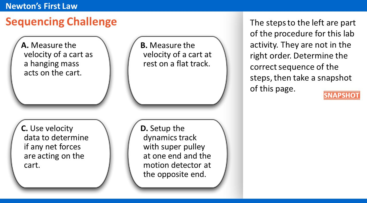 Sequencing Challenge Newton's First Law